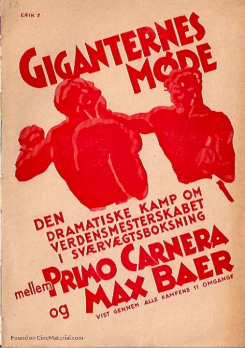The Prizefighter and the Lady - Swedish Movie Poster
