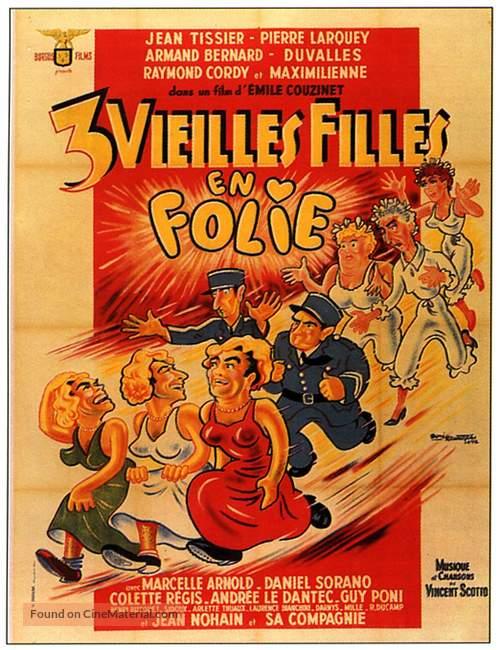 Trois vieilles filles en folie - French Movie Poster