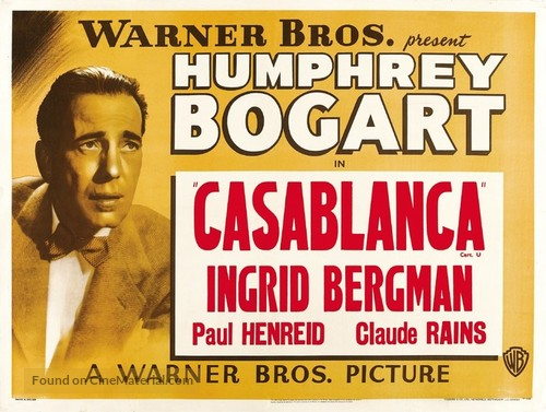 Casablanca - British Movie Poster