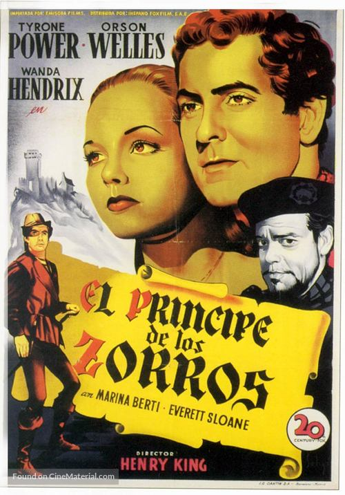 Prince of Foxes - Spanish Movie Poster
