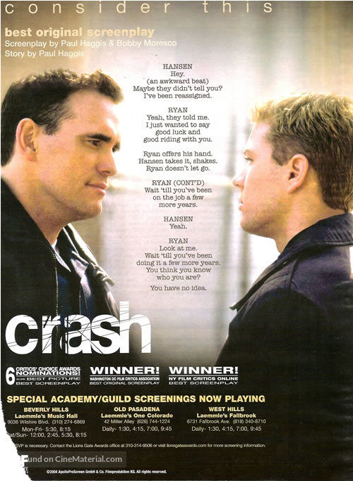 Crash - For your consideration movie poster