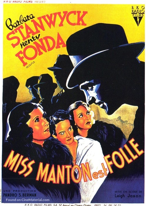 The Mad Miss Manton - French Movie Poster