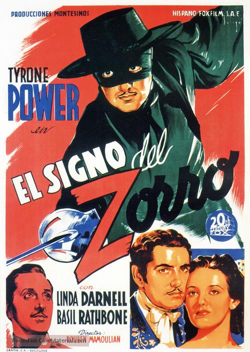 The Mark of Zorro - Spanish Movie Poster