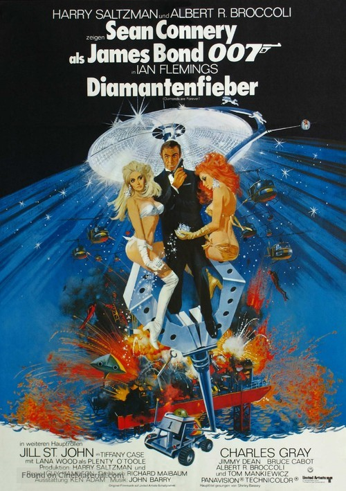 Diamonds Are Forever - German Theatrical movie poster