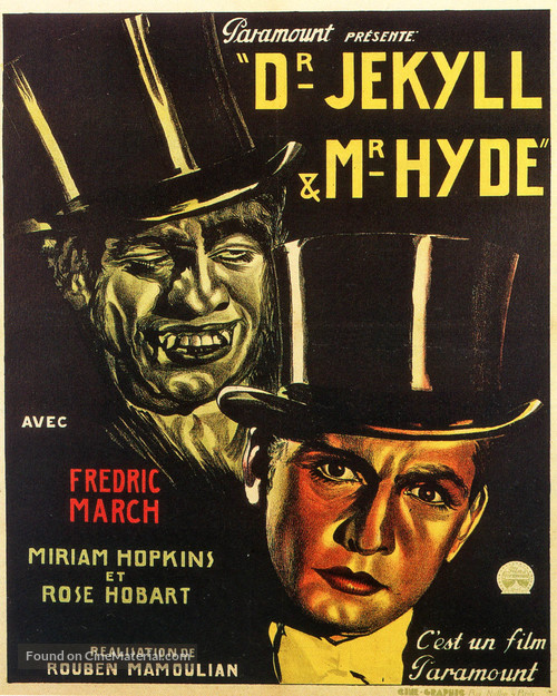 Dr. Jekyll and Mr. Hyde - Belgian Movie Poster