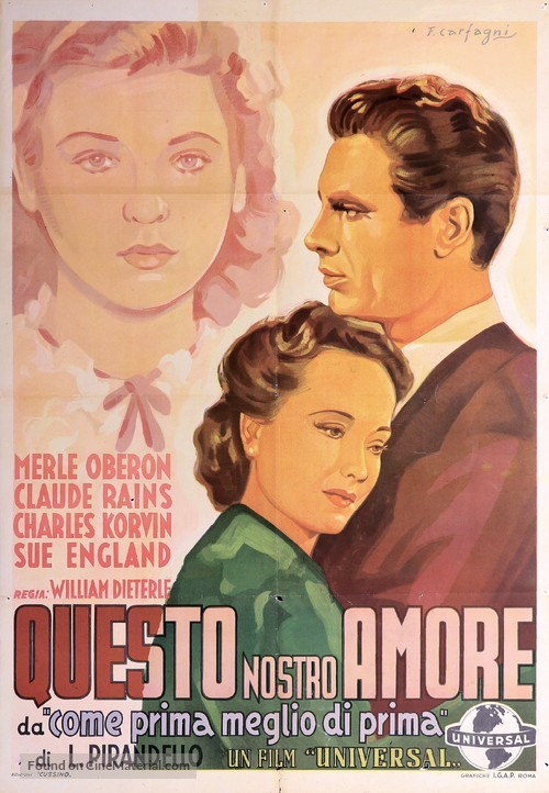This Love of Ours - Italian Movie Poster
