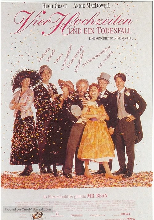 Four Weddings And A Funeral 1994 German Movie Poster