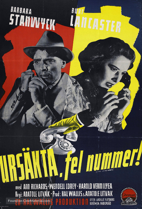 Sorry, Wrong Number - Swedish Movie Poster