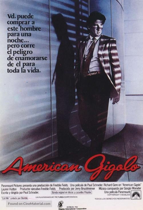 American Gigolo - Spanish Theatrical movie poster