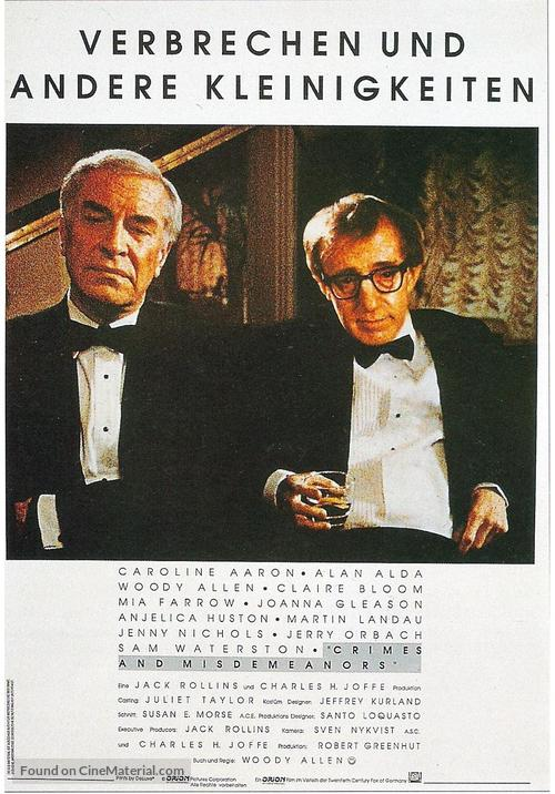 Crimes and Misdemeanors - German Movie Poster