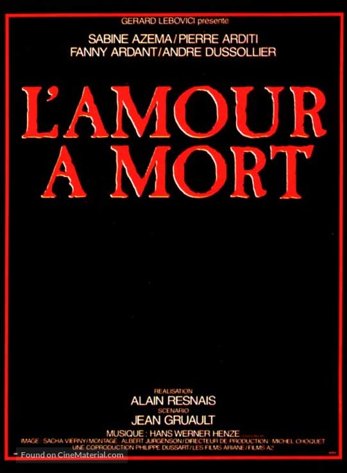 Amour à mort, L' - French Movie Poster