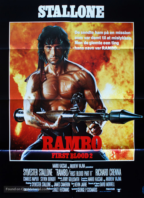 Rambo: First Blood Part II - Danish Movie Poster
