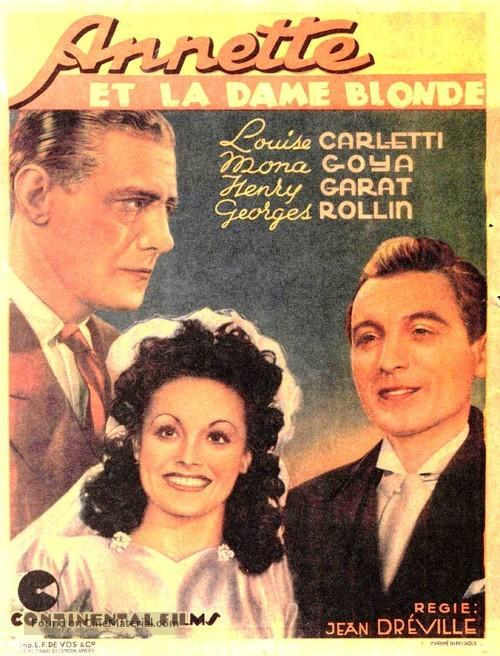 Annette et la dame blonde - Belgian Movie Poster