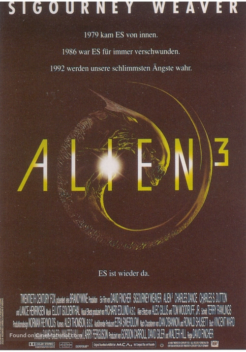 Alien 3 - German Movie Poster