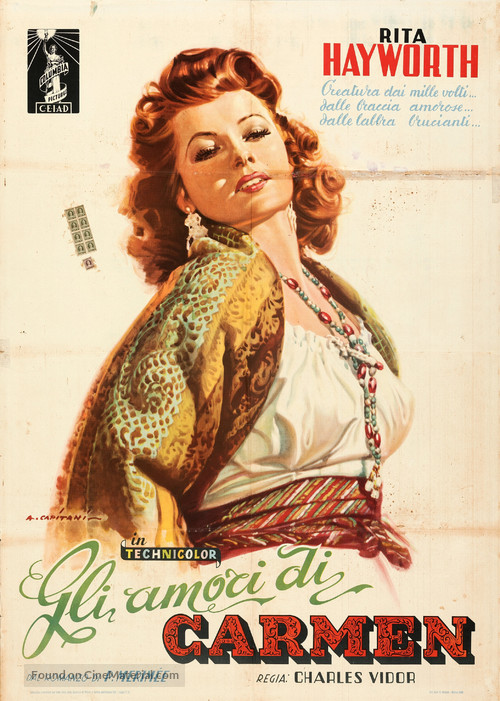 The Loves of Carmen - Italian Movie Poster