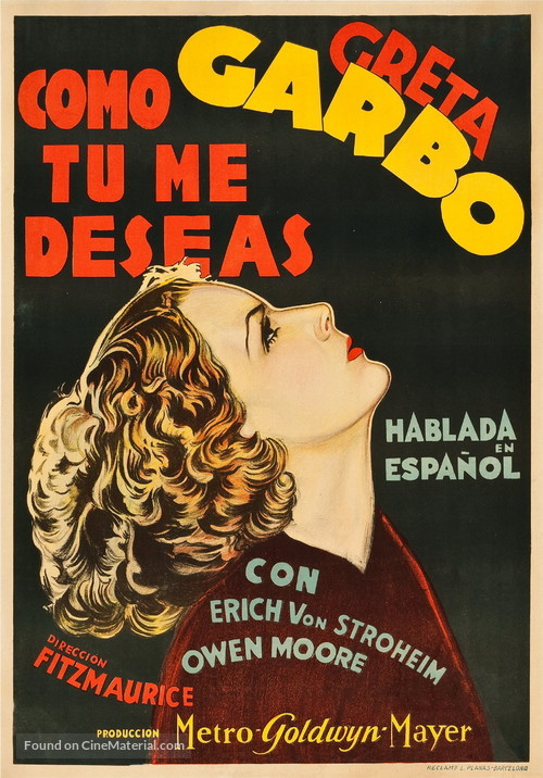 As You Desire Me - Spanish Movie Poster