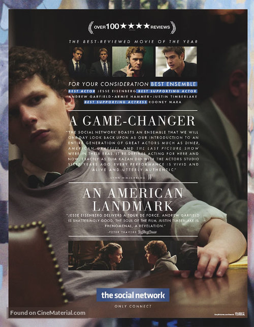 The Social Network - For your consideration movie poster
