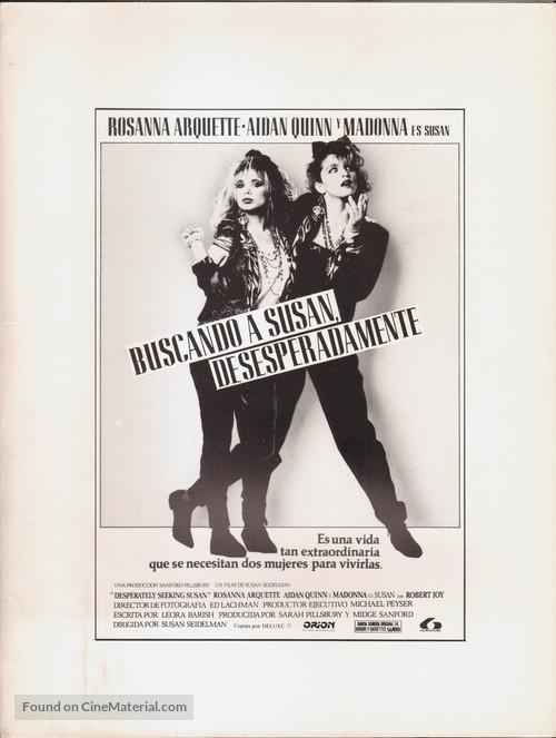 Desperately Seeking Susan - Spanish poster
