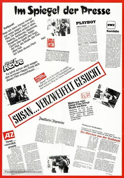 Desperately Seeking Susan - German Movie Poster