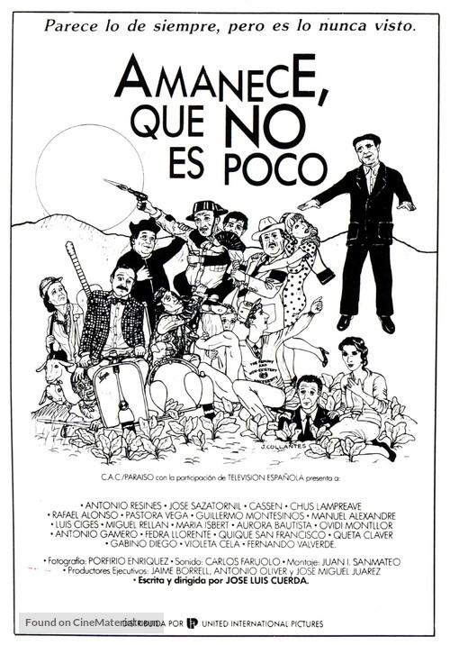 Amanece, que no es poco - Spanish Theatrical movie poster
