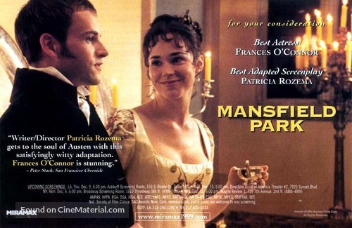 Mansfield Park - British For your consideration movie poster