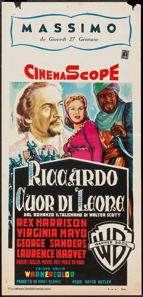 King Richard and the Crusaders - Italian Movie Poster