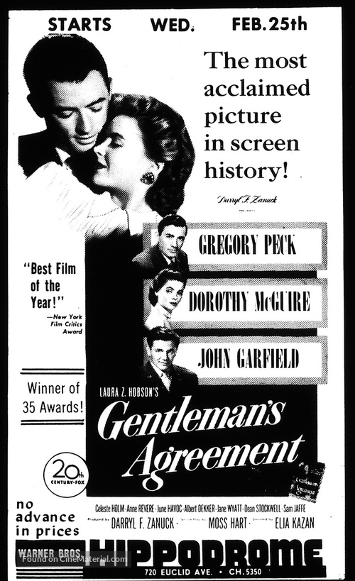 Gentleman's Agreement (1947) movie poster