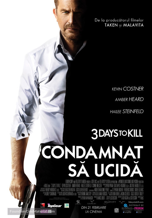 3 Days to Kill - Romanian Movie Poster