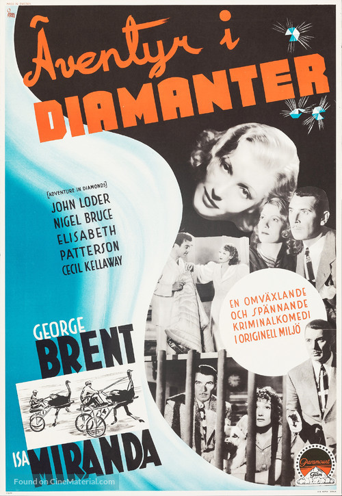 Adventure in Diamonds - Swedish Movie Poster
