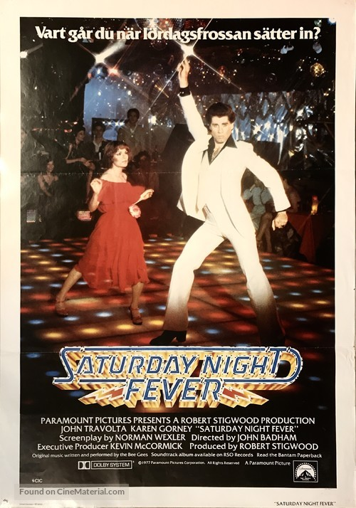 Saturday Night Fever - Swedish Movie Poster