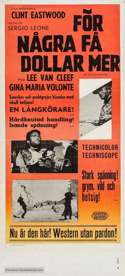 Per qualche dollaro in più - Swedish Movie Poster