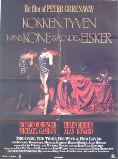 The Cook the Thief His Wife & Her Lover - Danish Movie Poster