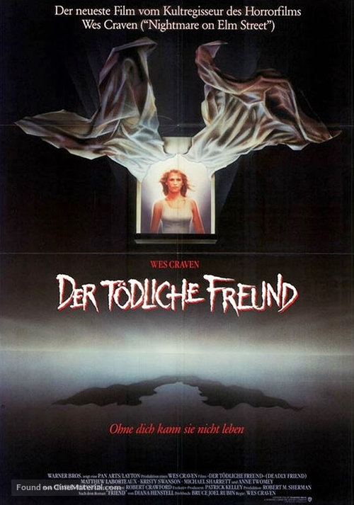 Deadly Friend - German Movie Poster