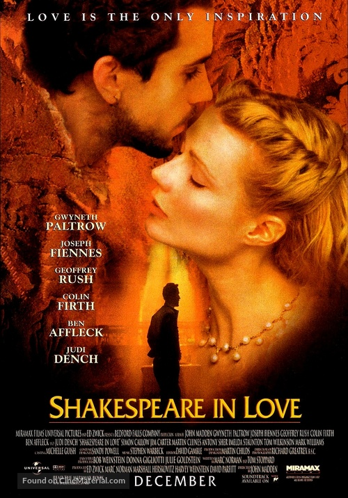 Shakespeare In Love - Advance movie poster