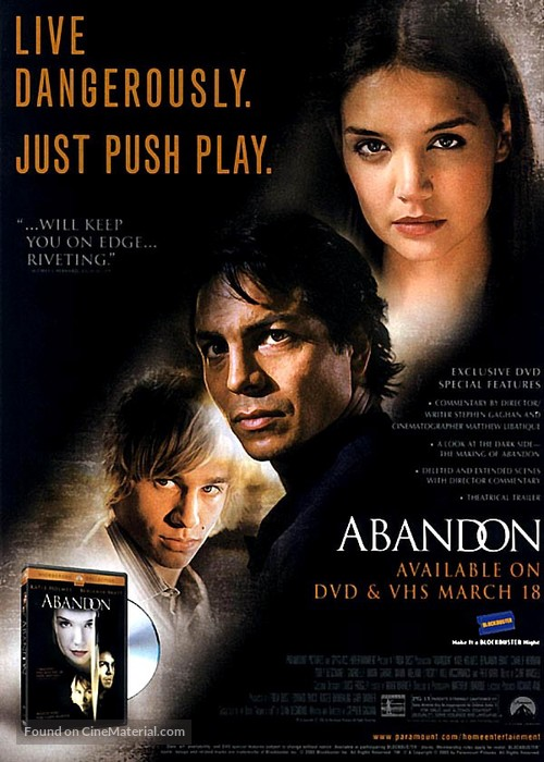 Abandon - Video release movie poster