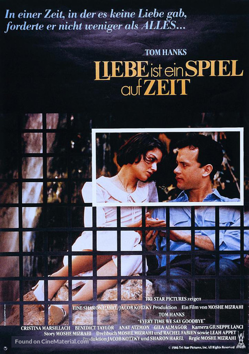 Every Time We Say Goodbye - German Movie Poster