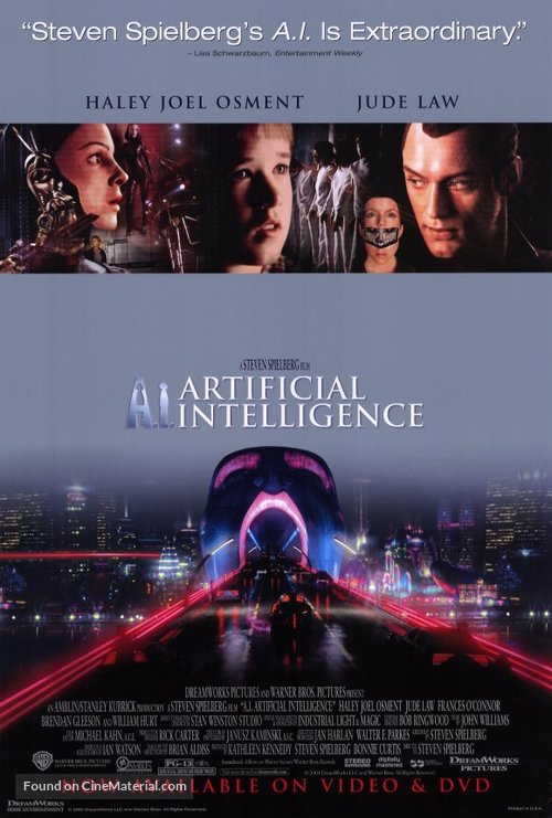 Artificial Intelligence: AI - Video release movie poster