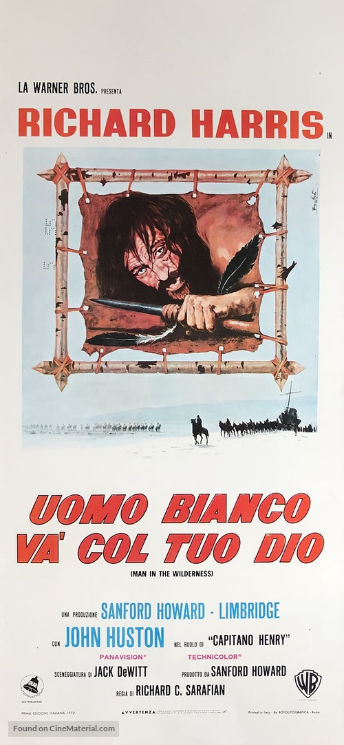 Man in the Wilderness - Italian Movie Poster