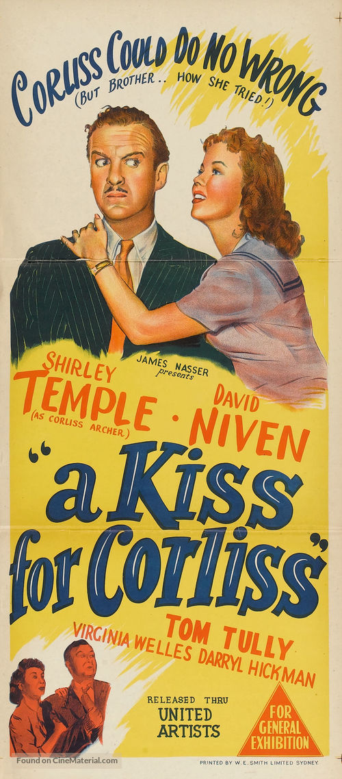A Kiss for Corliss - Australian Movie Poster