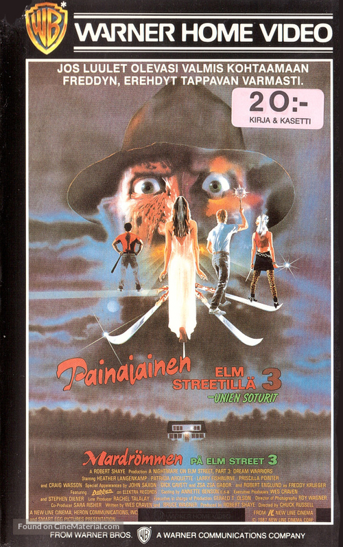 A Nightmare On Elm Street 3: Dream Warriors - Finnish VHS movie cover