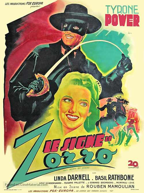 The Mark of Zorro - French Movie Poster